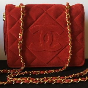 Vintage CHANEL Red Suede Quilted Full Flap Bag